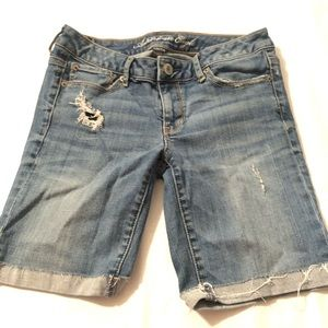 American Eagle Outfitters Shorts - American Eagle Stretch Distressed Jean Shorts Blue